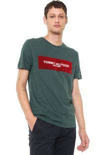 Camiseta Tommy Hilfiger Box Logo Verde