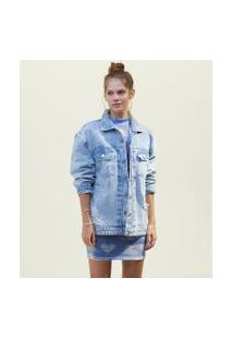 Jaqueta Jeans Alongada Com Puídos E Bolsos | Blue Steel | Azul | P