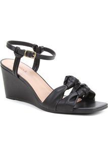 Sandália Shoestock Soft Anabela Feminina - Feminino-Preto