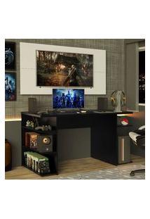 Mesa Para Computador Gamer E Painel Para Tv Até 50 Madesa Preto/Branco Branco