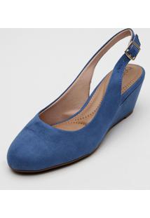 Scarpin Beira Rio Slingback Azul