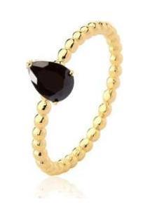 Anel Solitário Gota Zircônia Negra Banhado 18K Lys Lazuli Feminino - Feminino-Dourado