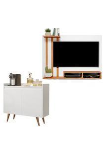 Kit Painel Para Tv 48 Polegadas Dubai Branco Com Nature E Aparador Buffet 2 Portas Retro Clean Branco