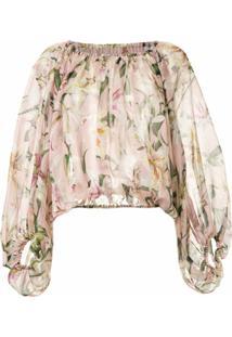 Dolce & Gabbana Blusa De Seda Estampada - Rosa
