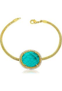 Pulseira Luxo Pedra Verde Tiffany Semijoia Lys Lazuli Feminina - Feminino