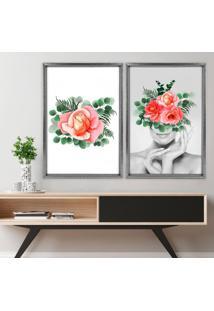 Quadro Love Decor Com Moldura Chanfrada Floral Grafitti Metalizado Médio