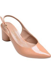 Sapato Feminino Salto Baixo Bico Fino Mariotta Nude