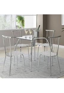 Mesa 1502 Vidro Incolor Cromada Com 4 Cadeiras 154 Fantasia Branco Carraro