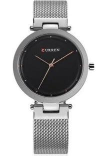 Relógio Curren Analógico C9005L - Feminino-Prata+Preto