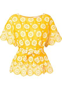 Tory Burch Blusa Com Bordado - Amarelo