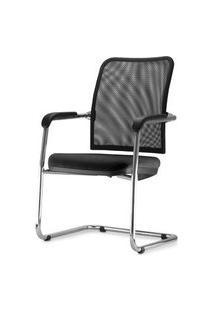 Cadeira Soul Assento Crepe Preto Base Fixa Cromada - 54253 Preto