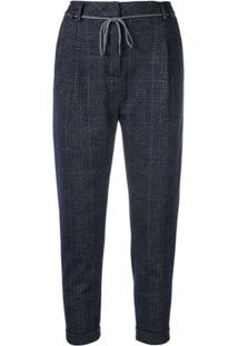 Eleventy Cropped Check Trousers - Azul