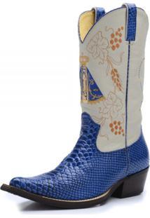 Bota Country Top Franca Shoes Texana Nossa Senhora Aparecida Anaconda Azul / Branco