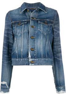 Saint Laurent Cropped Denim Jacket - Azul