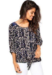 Camisa Meiling Animal Print Cinza/Azul