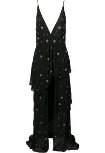 Amiri Vestido Com Bordado - Preto