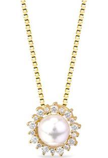 Pingente Ouro Amarelo Pérola E Diamantes