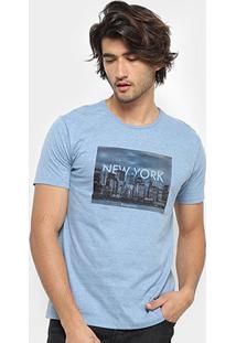 Camiseta Aleatory New York Masculina - Masculino-Azul Claro