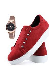 Tênis Sapatênis Neway Vermelho + Relógio