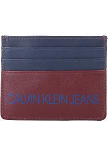 Carteira Couro Calvin Klein Porta Cartão Masculina - Masculino-Vinho