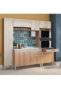 Cozinha Flex 9 Portas E 2 Gavetas Cc01St Carvalho/Blanche/Bordô - Fellicci