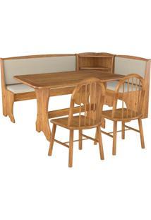 Conjunto Canto Alemão Mesa Com 2 Cadeiras Para Cozinha Sala De Jantar Madeira Taeda Champagne Charlie Linho Bege - Gran Belo