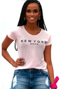 Camiseta Miss Glamour Store New York Rosa
