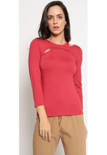 Blusa Lisa Com Recortes - Vermelha - Sommersommer