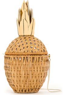 Serpui Clutch De Palha 'Abacaxi' - Amarelo