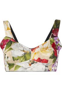 Dolce & Gabbana Blusa Cropped Com Bustier E Estampa Barroca - Neutro