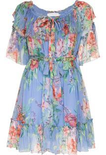 Zimmermann Vestido Prima Com Estampa Floral - Azul