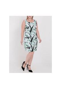 Vestido Médio Estampado Plus Size Feminino Verde
