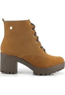 Bota Coturno Ramarim Ankle Boot Camurça Camel - Feminino