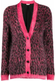 Saint Laurent Cardigan De Lã Com Estampa De Leopardo - Rosa