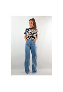 Calça Pantalona Jeans - Azul Médio
