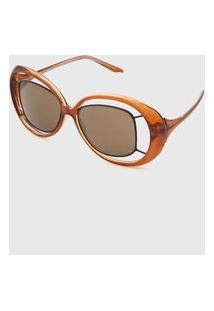 Óculos De Sol Morena Rosa Max Oval Caramelo