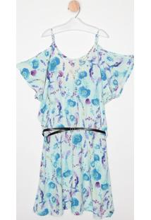 Vestido Floral Com Vazados- Azul Claro & Lilás- Malwmalwee