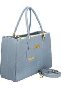 Bolsa Handbag Matelassê Zíper Alça Removível Feminina - Feminino-Azul