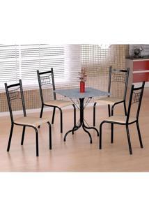 Conjunto De Mesa Malaga Com 4 Cadeiras Lisboa Preto Prata E Nature Bege