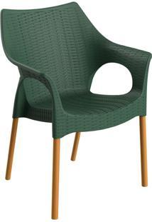 Cadeira Relic Com Braço Verde Alecrim E Madeira