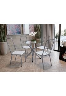 Conjunto Mesa Volga C/ 4 Cadeiras Viena Cromado/Branco Kappesberg - Tricae