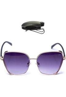Kit Óculos De Sol Hexagonal E Porta Óculos Veicular Feminino - Feminino-Preto