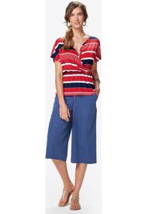 Blusa Listrada- Vermelha & Azul Marinho- Malweemalwee