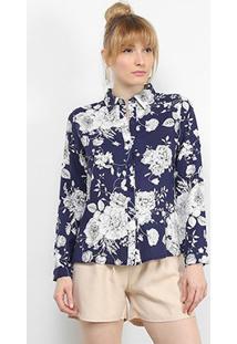 Camisa Charm Lady Manga Longa Floral Feminina - Feminino-Marinho