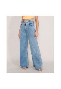 Calça Wide Jeans Cintura Super Alta Com Cós Duplo Azul Médio