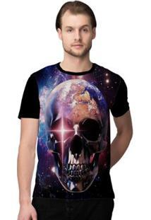 Camiseta Stompy Skull Space Masculina - Masculino-Preto