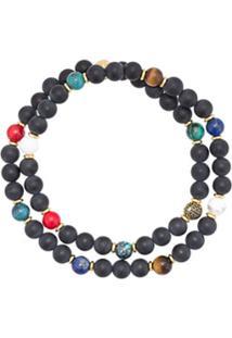 Nialaya Jewelry Pulseira De Contas Dupla - Preto