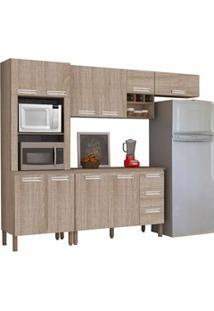 Cozinha Compacta Ametista Com Balcão 10 Portas Composição 7 Nogal - Ki