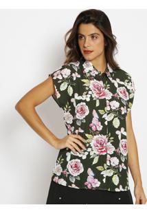 Camisa Floral- Verde & Rosaangel