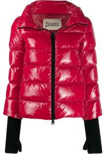 Herno Glove Detail Puffer Jacket - Vermelho